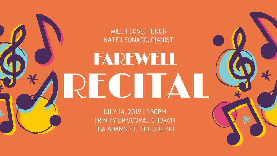 will floss farewell recital  trinity episcopal church in