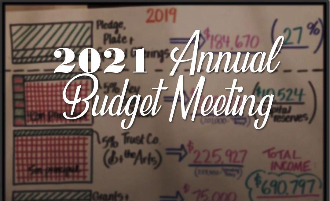 Budget Meeting: Sunday, 1/24 at 11AM via Zoom